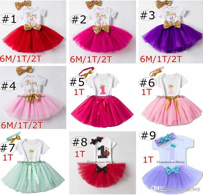 Ins Baby Girls Birthday Rompers & TUTU Skirts & Headband 3PC Sets Infant Toddler Girl Bubble Skirt Princess Dress Baby Summer Cotton Outfits
