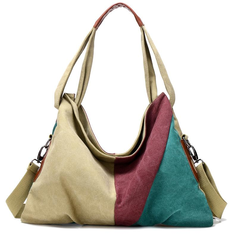 a2b2785502da New Vintage Patchwork Women Handbag Hot Sale Canvas Shoulder Bag Fashion Messenger  Crossbody Bag Casual Shopping Bags Tote Leather Bags Shoulder Bags From ...