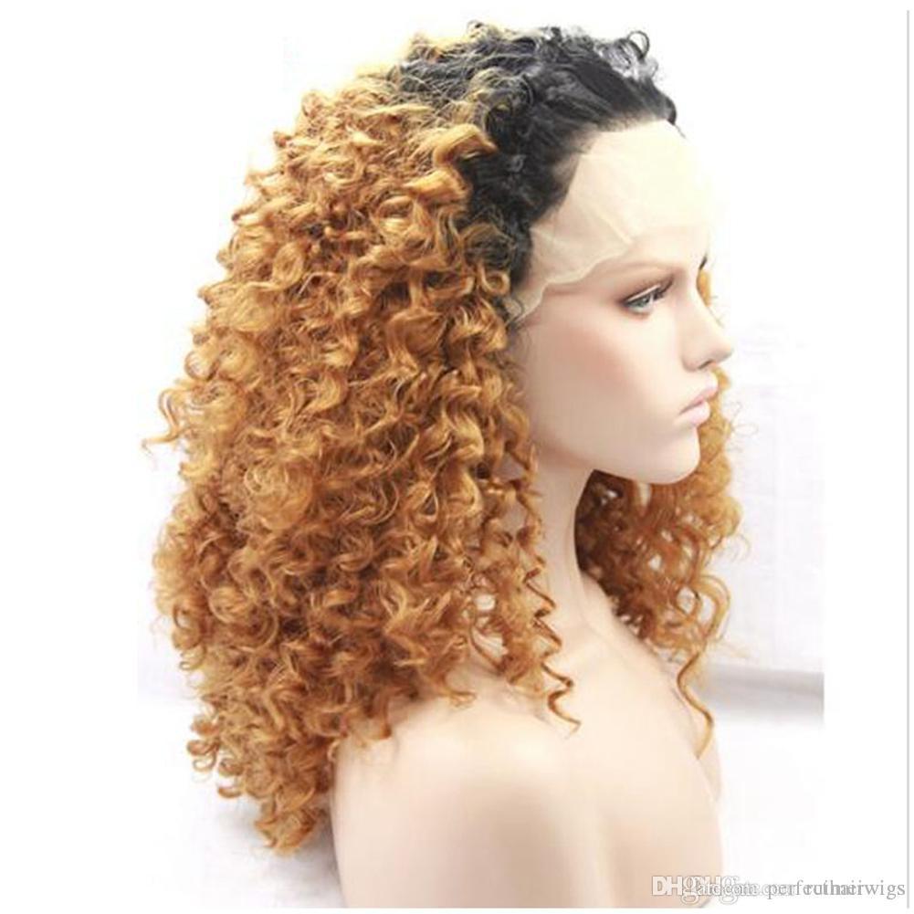 Longue perruque blonde frisée bouclée Ombre