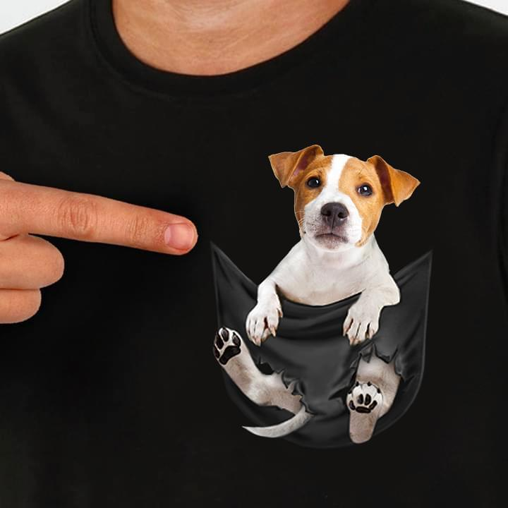 Acquista jack russell inside pocket t shirt dog lovers nero cotone