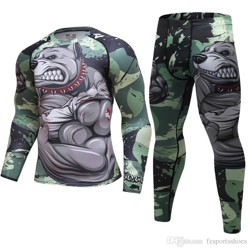 51e492c4d27e4 Compre Pitbull Terno CrossFit T Shirt + Leggings Set Homens Roupa Interior  Térmica Sunscreen MMA De Compressão De Fitness Jogging Correr Esportes  Roupa ...