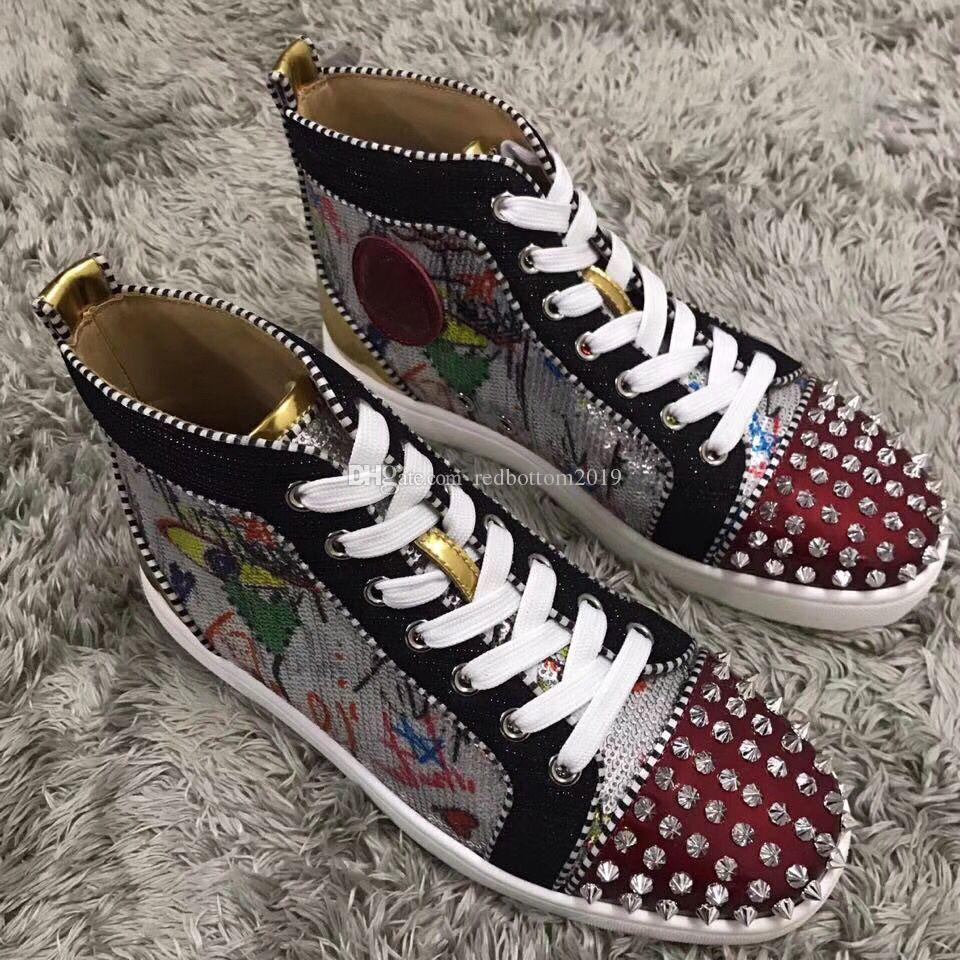 Elegant Graffiti Sequin Leather Sneakers Shoes With Spikes High Top ... ce416d25490f