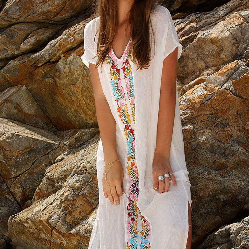 89087e284818 Women Vacation Short Sleeve V Neck Kaftans Swimsuit Cover Up Ethnic Rainbow  Floral Embroidered Beach Dress Split Maxi Long Robe Summer Dress Women  Black And ...