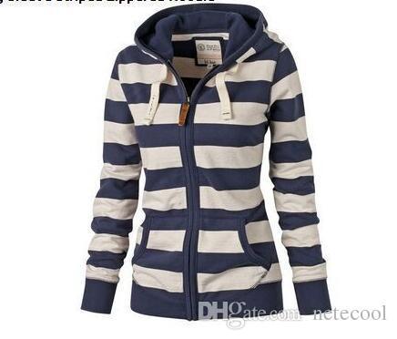 d3f390ff Autumn Women Hoodies Mujer Clothes Long Sleeve Striped Zippered Hoodie  Jacket Sweatshirt Jumper Top Zipper Hooded Pullover 2019