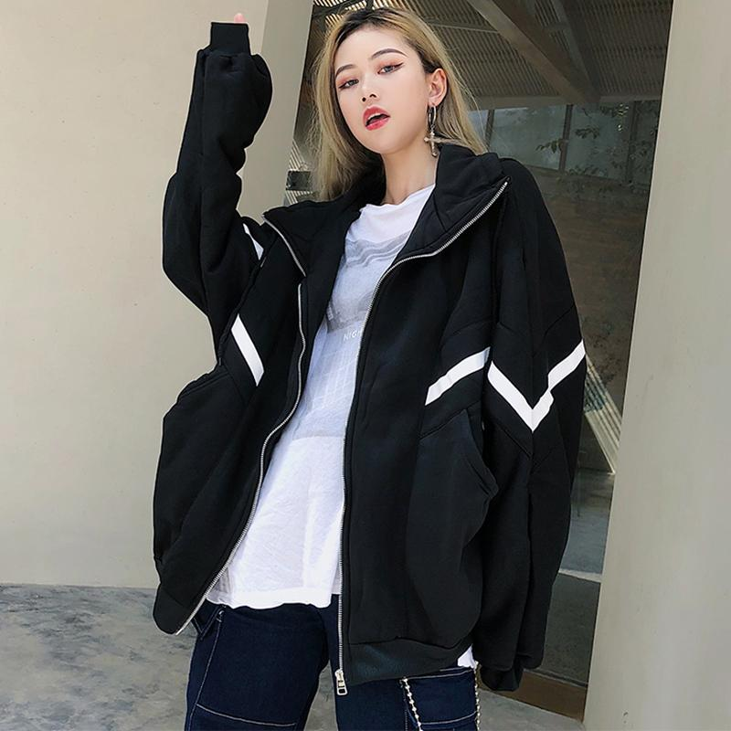 945d0ee718f Jacket Women Zip Up Hoodies Outwear Long Sleeve Coats Casual Oversized  Contrast Color Jackets Plus Size Autumn Female Clothing Spring Jacket  Womens Jacket ...