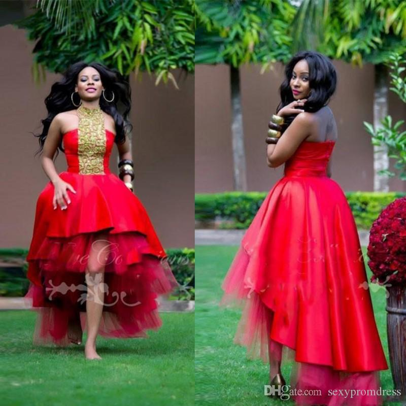 Red High Low Prom Dresses Gold Lace Appliques Halter Evening Gowns Satin And Tulle Tiered African Cocktail Party Dress Custom Made