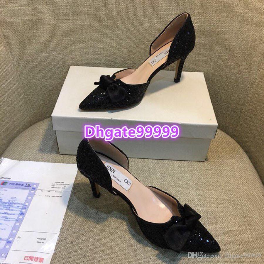 75353a22 Compre Mujer Señaló Bomba De Brillo Sandalia Zapatos De Vestir De Moda De  Verano De Satén Bowtie Con Brillo Sandalias De Tacón Alto Marca De Lujo 2019  ...