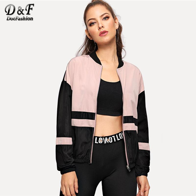8d2472b35 Dotfashion Zip Up Color Block Bomber Jacket 2018 Autumn Casual Coats And  Jackets Women Clothing Sporty Stand Collar Outerwear