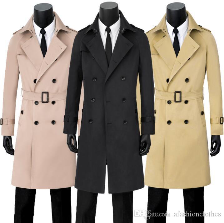 b616ac9e8e Uomo trench uomo lungo cappotto uomo Doppiopetto abiti slim fit soprabito  manica lunga 2019 primavera autunno casual nuovo designer