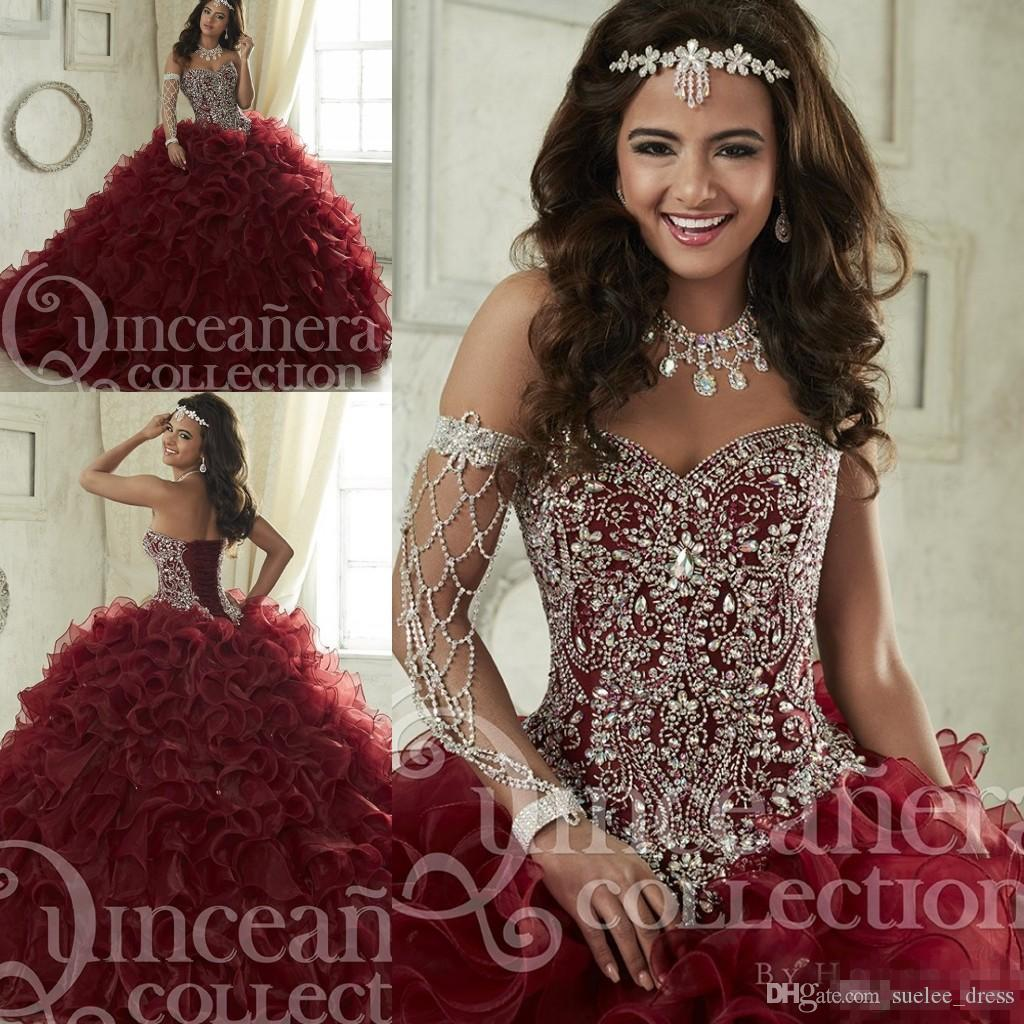 90243019333 2019 New Burgundy Quinceanera Dresses Organza Tiered Skirts Luxury Beaded  Crystals Ball Gown Sweet 15 16 Formal Wear Custom Made Designer Quinceanera  ...