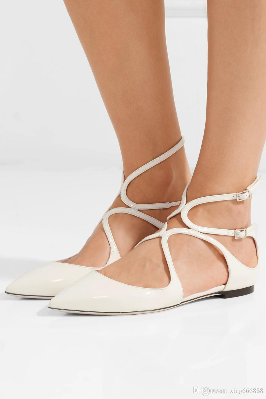 034957c76 Sexy Lancer Point Toe Flat Black,White Comfortable Ankle Strap Luxury  Design Ladies Ballet Flats Dress Wedding Party With Box Euro 35 42 High  Heels Shoes ...