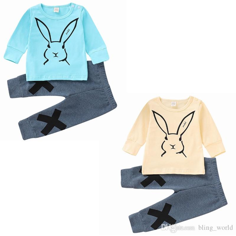 44557a7751582 Acheter Vêtements De Bébé De Pâques Enfants Lapin Imprimer Chemises Pantalon  Ensembles Lapin Garçons Tenues Printemps Filles Vêtements Ensembles 2  Modèles ...