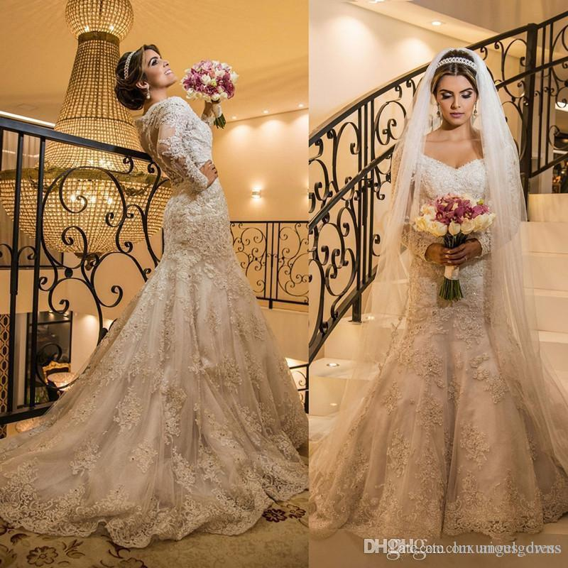 Gorgeous Ivory Mermaid Wedding Dresses With Long Sleeves 2019 Lace Appliques Beads V Neck Chapel Church Bridal Gowns Elegant Wedding Dress