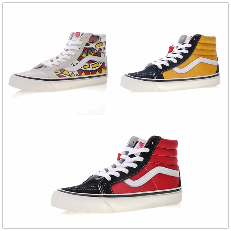 b8a8173e79 2018 Vans SK8 Hi Classic Old Skool White Black Zapatillas De Deporte Women  Men High Top Low Canvas Casual Skate Shoes E20720 Moccasins Boat Shoes From  ...