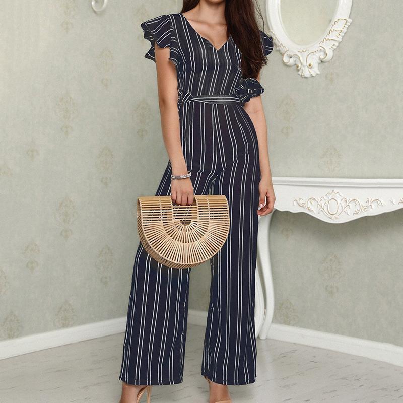 5f772a62e6 Black And White Elegant Vertical Stripe Ruffle Detail Wrap Deep V Neck  Belted Jumpsuit Long Pants Summer Women Workwear Jumpsuit Ladies Dress  Designer Dress ...