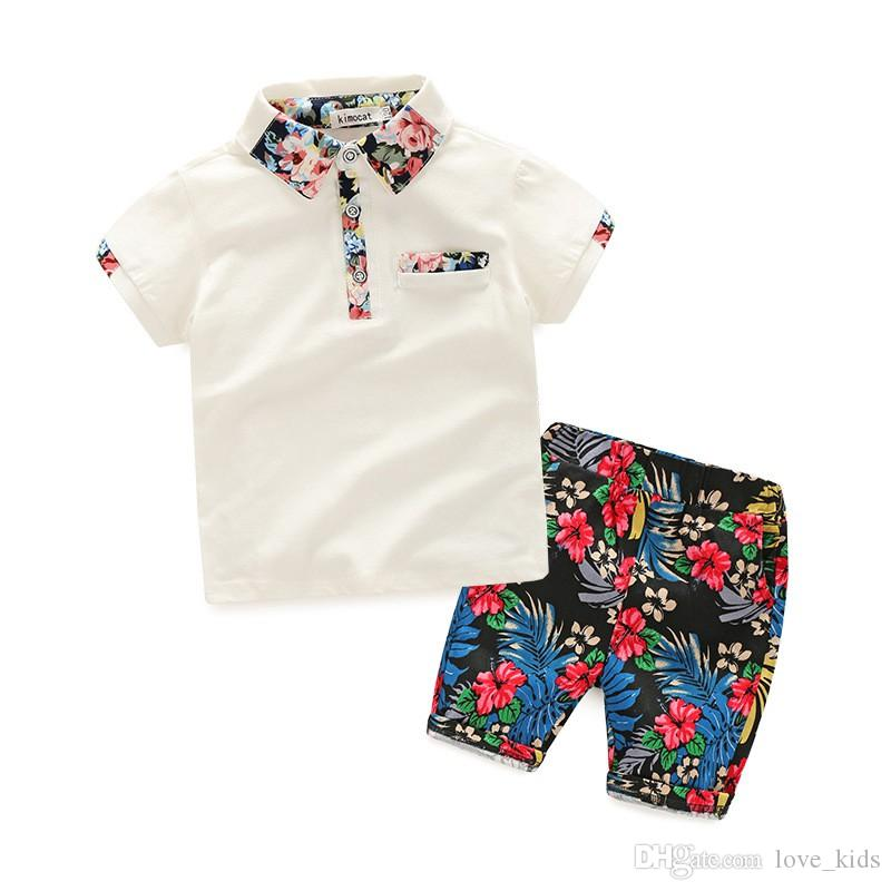 3-8T boy summer clothing sets short sleeve turn-down collar T-shirt and floral shorts handsome kid suit