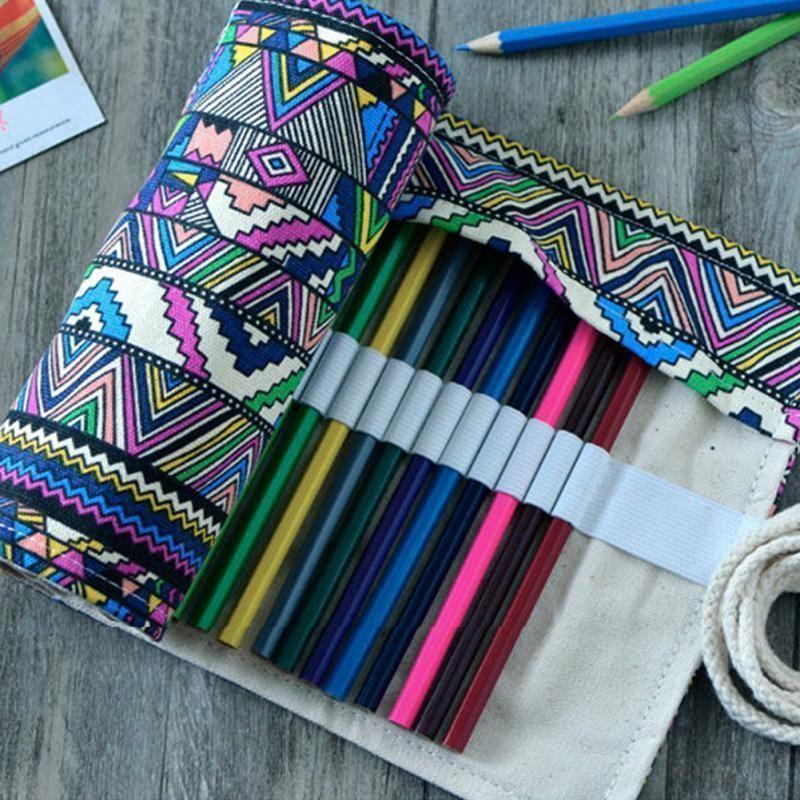 215845232b Acheter Wholetide 37 Trous Artiste Crayons Étui Pochette Crayon Wrap Stylo  Boîte Étui À Crayons Toile Roll Up Makeups Sac De Rangement Sacs Comestic  De ...