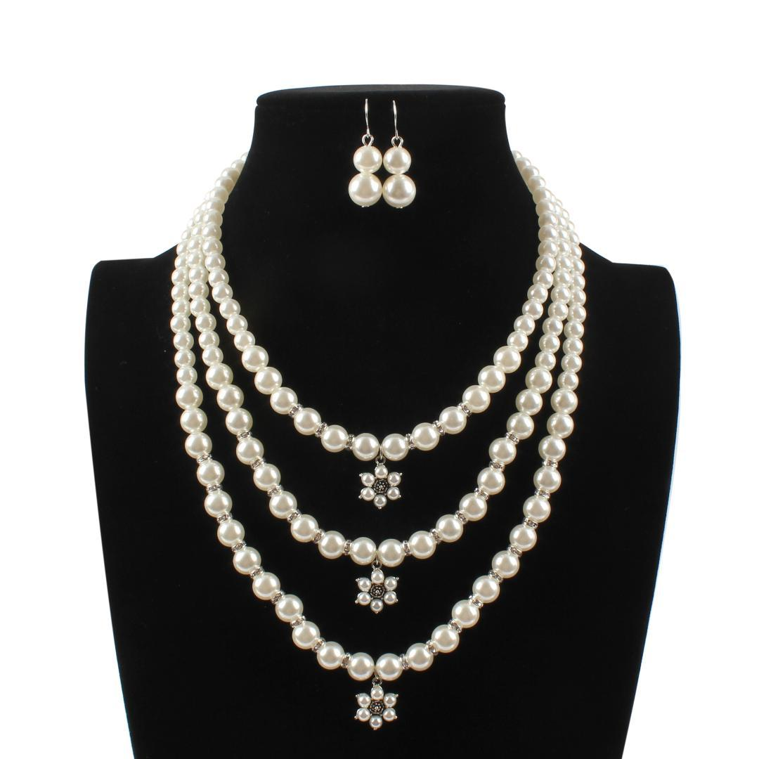 be3fd6ec1 2019 2019 New Bohemian Fashion Crystal Pearl Jewelry Sets Women Pendant  Multi Layer Strand Beads Flower Necklace Set Earrings Colar From  Shuidianba, .