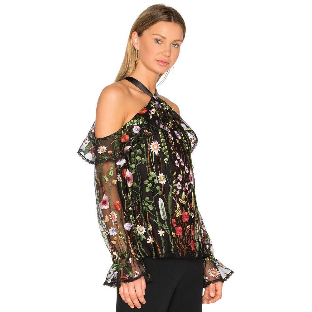 aae54bc286ad 2019 2019 Sexy Women Floral Embroidery Blouse Off Shoulder Tie Halter Sheer  Top Flare Sleeve Transparent See Through Brand Shirt Top From Jamie17, ...