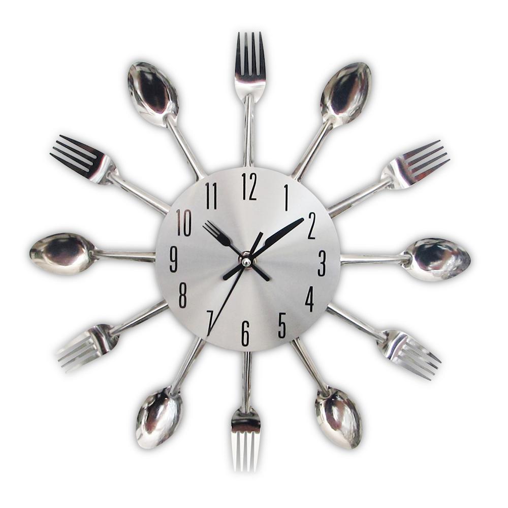 Posate da cucina in metallo Orologio da parete Cucchiaio Forchetta Orologi  al quarzo creativi Design moderno decorativo Horloge Murale