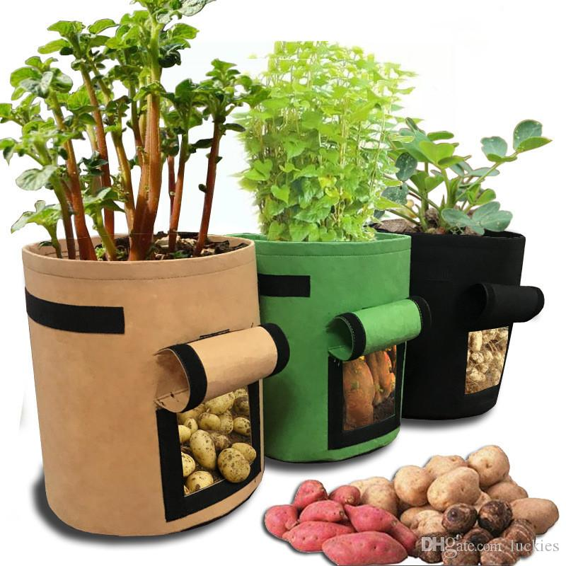 Potato Grow Bag-7 Gallon Window Vegetable Grow Bag, Double Layer Premium Breathable Nonwoven Cloth Bucket Pot for Nursery Garden