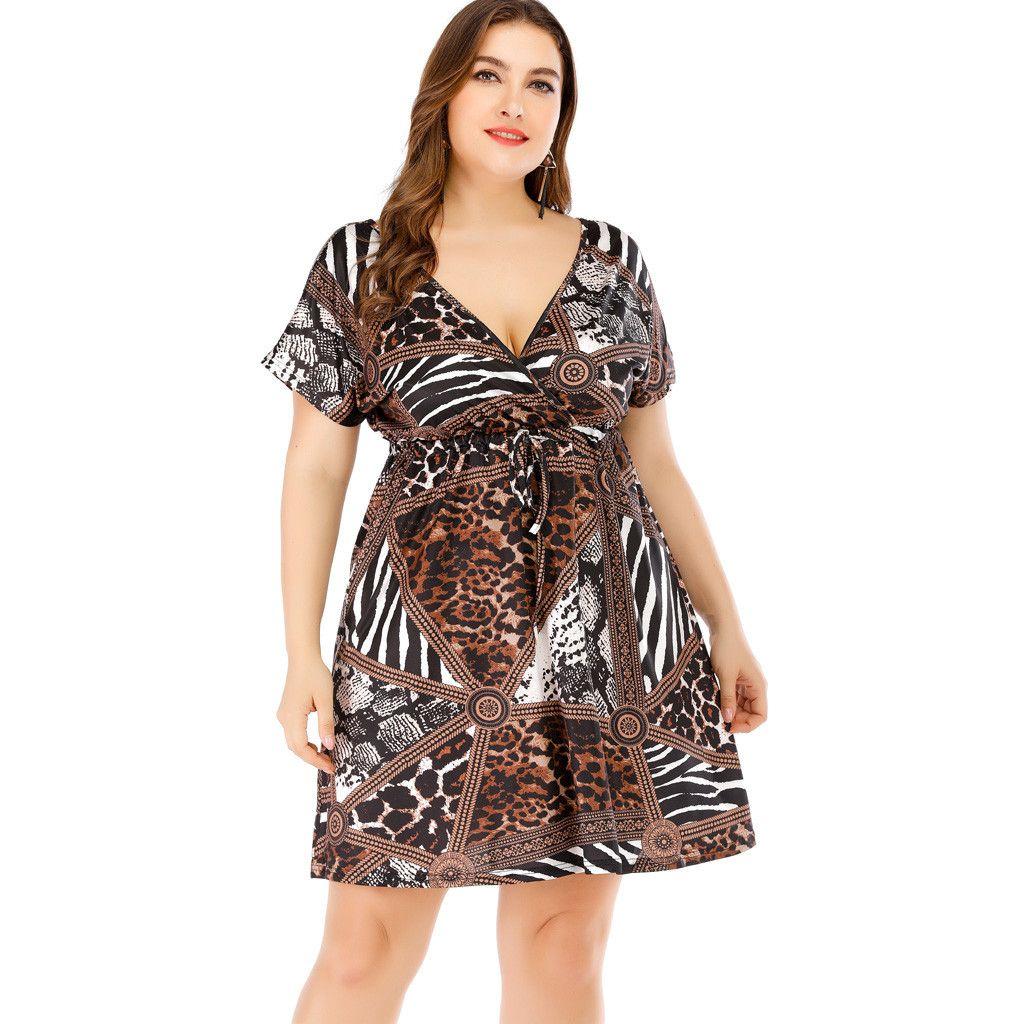 413f479f Tallas grandes Vestido de mujer Vestido de manga corta de verano Fiesta  casual Vestido boho Casual Cuello en v Cinturón con cordones y túnica ...