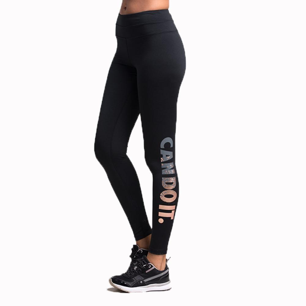 3c9fed4d777 Sale Sports Tights Women Bronzing Letters Stretch Quick-drying Yoga Trousers  Running Compression Pants Fitness Gym Female Online with  30.03 Piece on ...