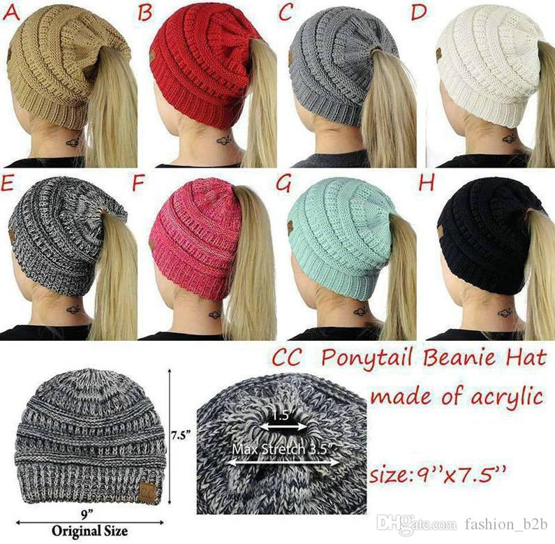 b21bb77c7 CC Ponytail Beanie Hat 8 Colors Women Crochet Knit Cap Winter Skullies  Beanies Warm Caps Female Knitted Stylish Hats 20pcs