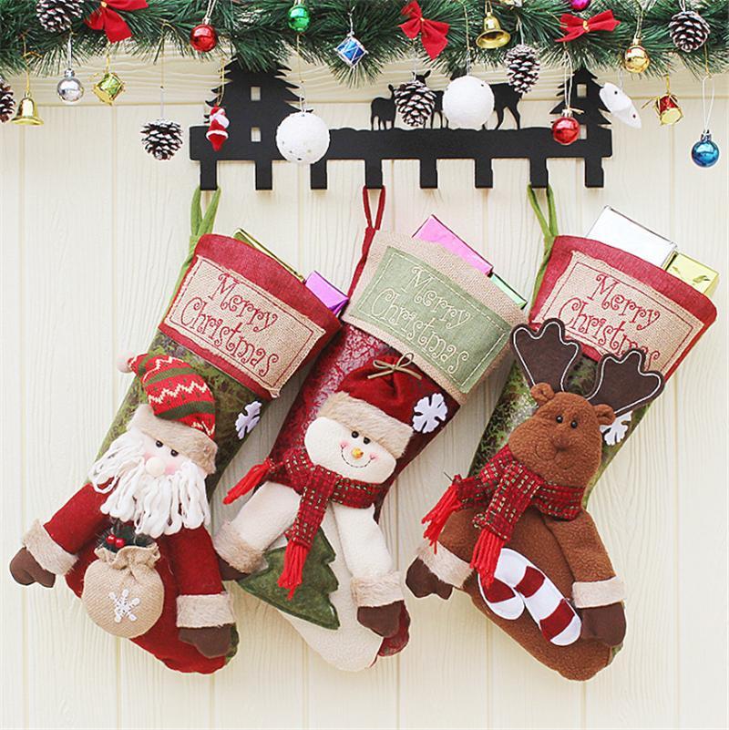 Camino Di Babbo Natale.3pcschristmas Calze Grandi Regali Di Stoffa Babbo Natale Elk Socks Xmas Gift Bag Per Bambini Camino Albero Decorazione Natalizia