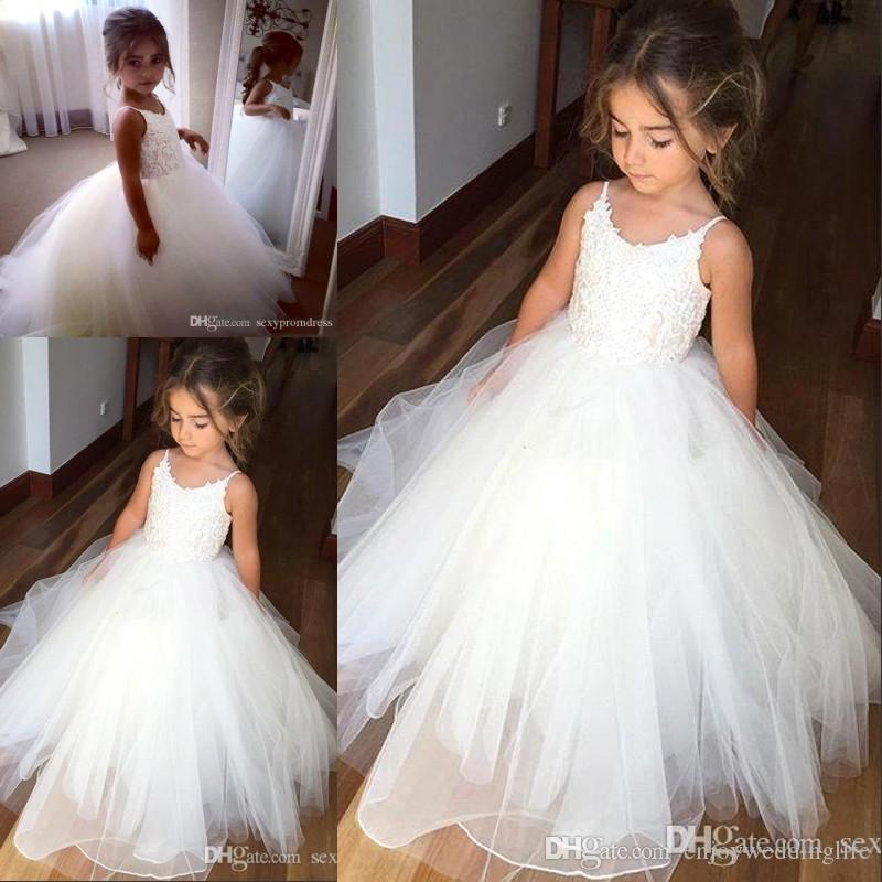 Hot Sale Spaghetti Lace And Tulle Flower Girl Dresses For Wedding White Ball Gown Princess Girls Pageant Gowns Children Communion Dress