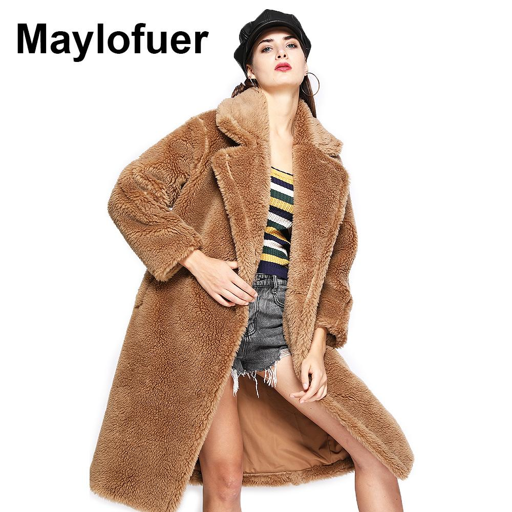 fd9d85771 2019 Maylofuer Teddy Style New Oversize Real Lamb Fur Coat Women Fur Winter  Natural Genuine Wool Sheep Long Coats Jacket From Dayup, $214.54 |  DHgate.Com