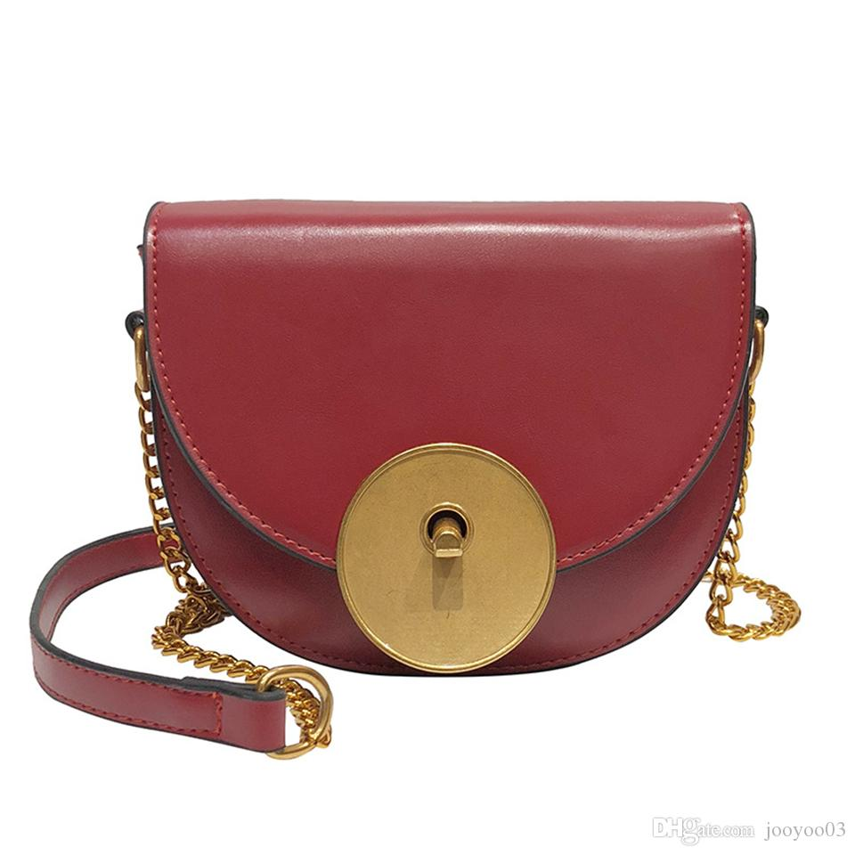 91b31e1d22 Bag Female Spring And Summer New Round Lock Chain Saddle Bag Net Red Black  Bag Texture Retro Shoulder Diagonal Package Jooyoo