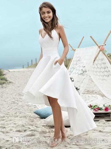 Cheap White Summer Beach Wedding Dresses A Line Boho Bridal Gowns