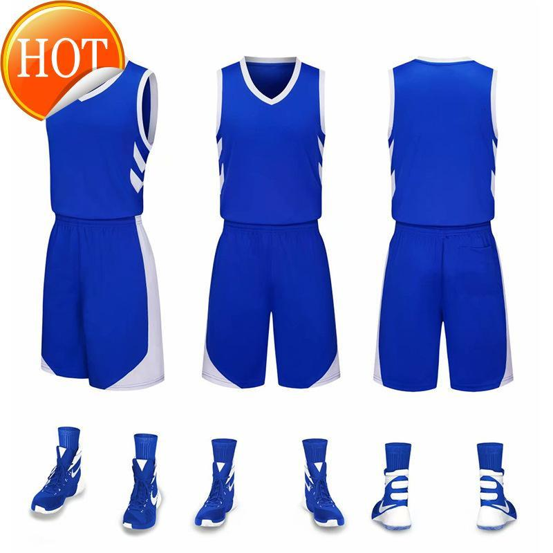 2019 New Blank Basketball jerseys printed logo Mens size S-XXL cheap price fast shipping good quality New Blue B001AA1
