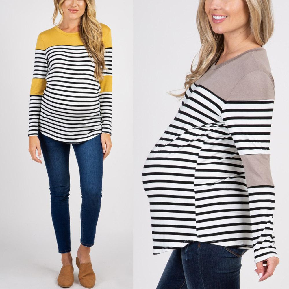 a225a998cafde 2019 Striped Maternity Tops For Pregnant Women Clothes Tee Shirt Grossesse Long  Sleeve Maternity Clothing Spring Mother Wear From Begonior, $26.28 | DHgate.