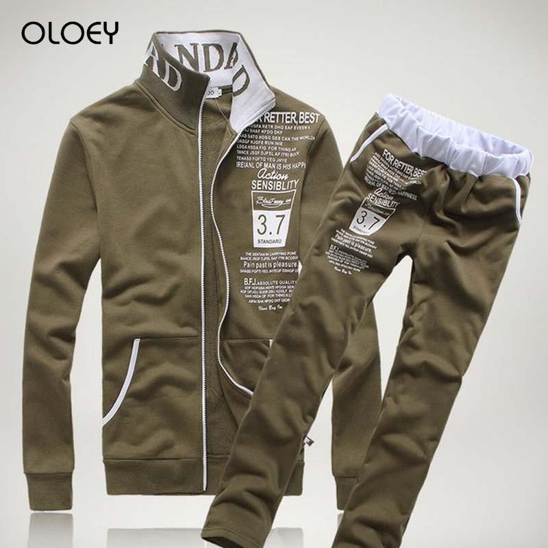 OLOEY 2019 tracksuit men zip jacket track pants two piece set men outfits fashion streetwear jogging sport suit casual male set