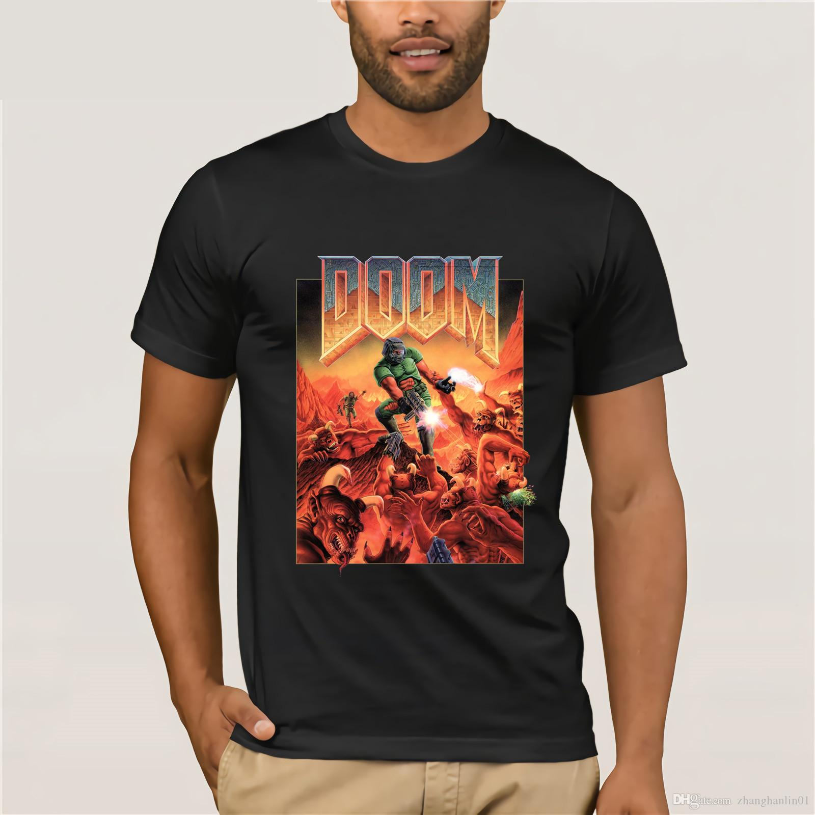 81c8e2be Custom Men's Summer Fashion T-Shirt Doom T Shirt Classic Box Art Logo  Gaming Mens Black Short Sleeve Funny T Shirts