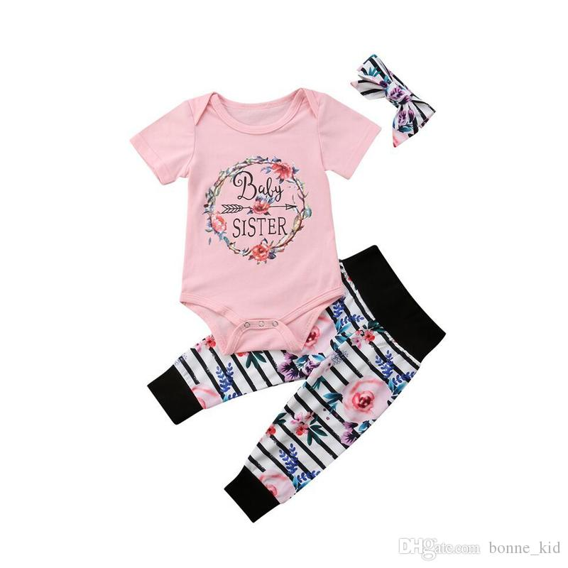 dc4876253 Baby Girls Pink Rompers Flower Stripes Pants Headband Set Outfits ...