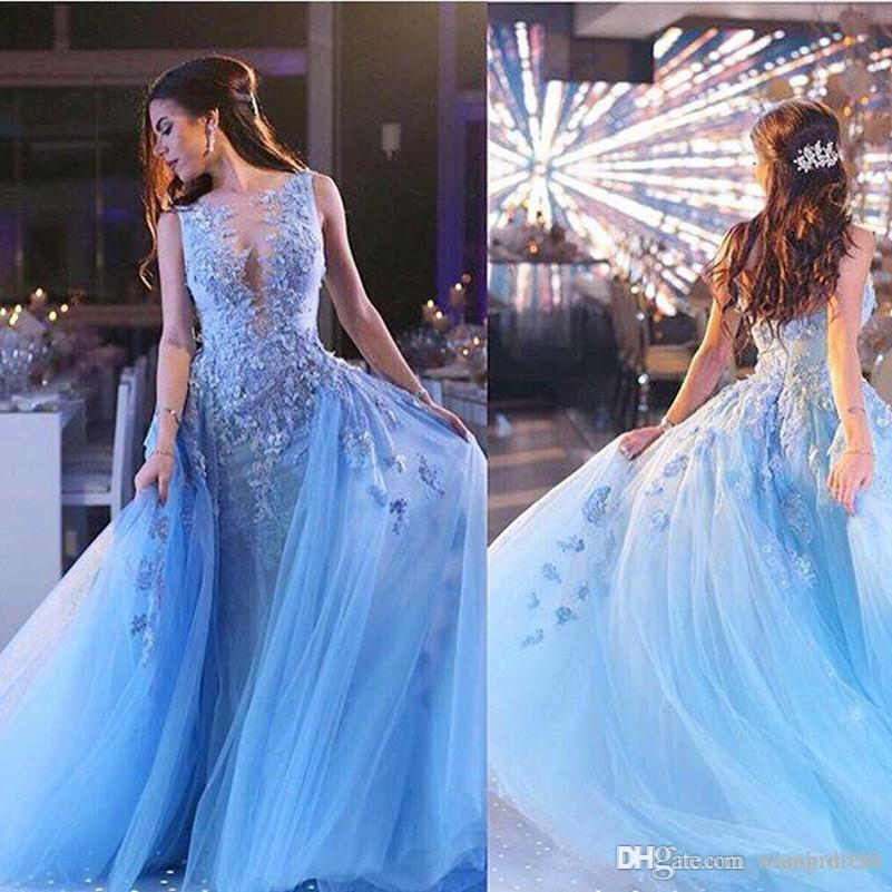 Glamorous Light Blue Lace Dresses Evening Wear 3D Applique Mermaid Prom Dress Custom Made Arabic Formal Party Wears Detachable Overskirt