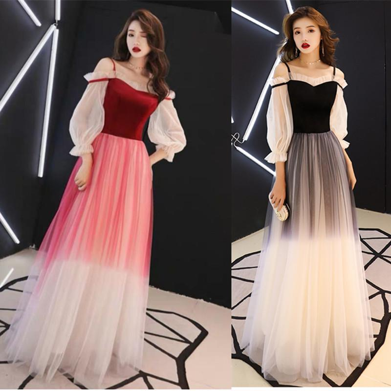 2d03873627a0 2019 New Women Sexy Slash Neck Ball Gown Evening Dresses Fashion Banquet  Bride Toast Costume Host Long Skirt QC0251 From Linmin91, $27.14 |  DHgate.Com