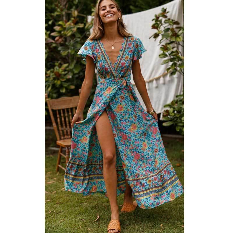 7db8e18359f 2019 Multi Floral Dress V Neck Wrap Dresses 2019 Summer Short Sleeve Women Dress  Casual Beach Ruffle Hem Maxi Dresses C19041603 From Lizhang03