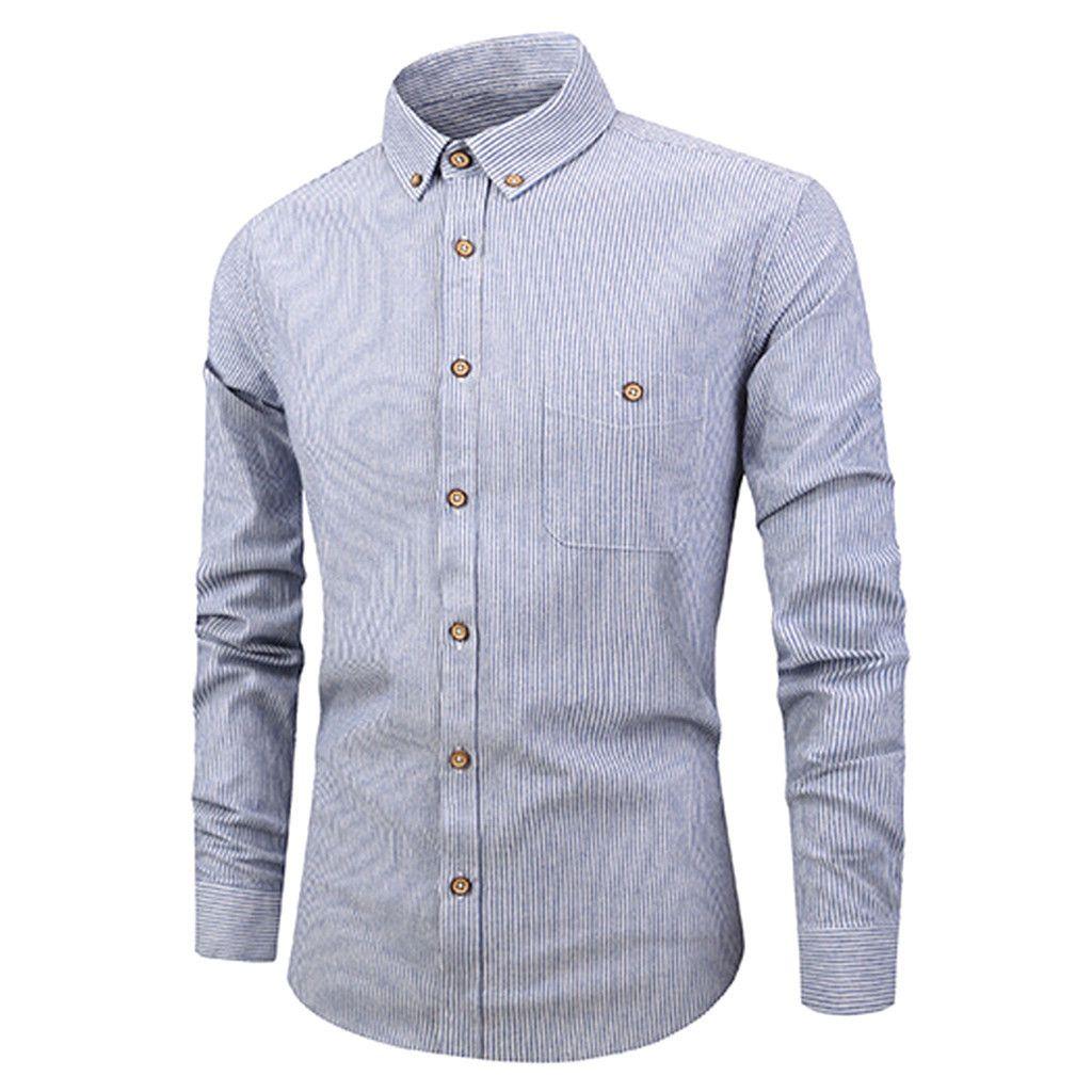 330fbd4e7 Compre Feitong Camisa De Los Hombres De Manga Larga Botón De La Raya  Pintura Casual Top Blusa Camisas De Vestir Masculinos Ropa De Hombre Camisa  Masculina ...