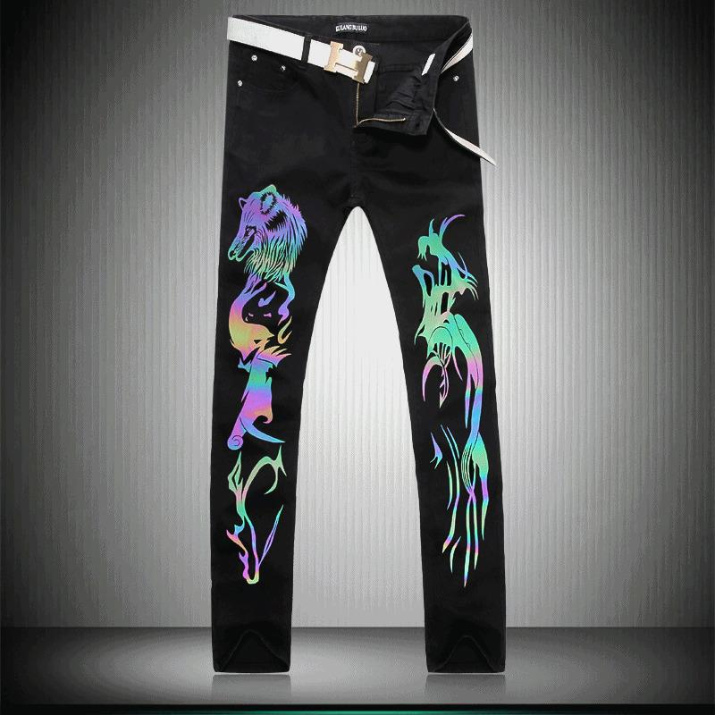 Pop2019 Foreign Trade Man Luminescence Wolf Black Pants Generation Hair Picture Men's Wear Cowboy Trousers Colorful