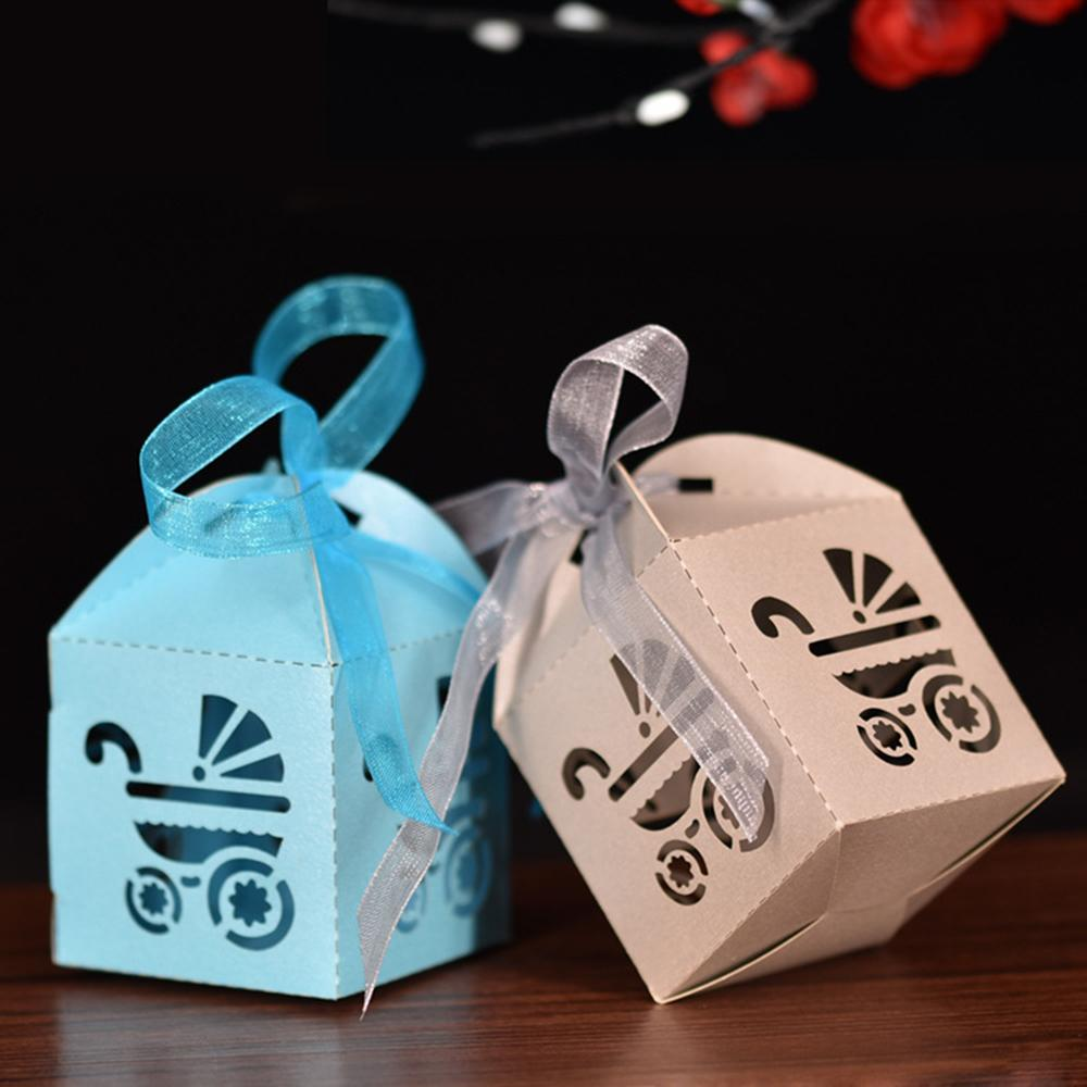 2019 10Pcs/set Laser Cut Hollow Carriage Favors Gifts Candy Boxes With Ribbon Baby Shower Wedding Party Supplies