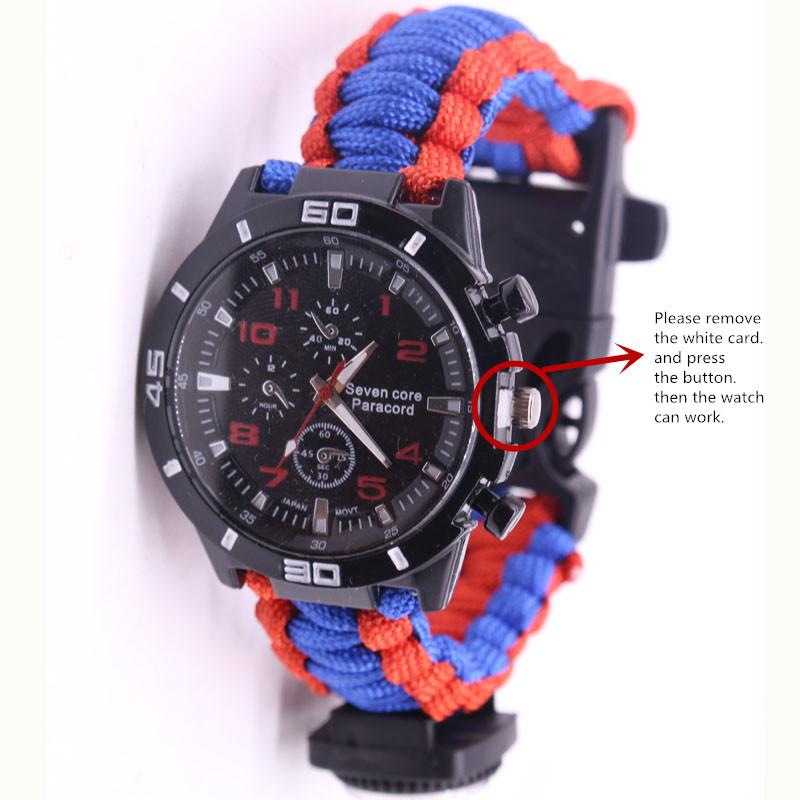 EDC Multi Tools Tactical Camouflage Outdoor survival watch bracelet compass Rescue Rope paracord Camping equipment (1)