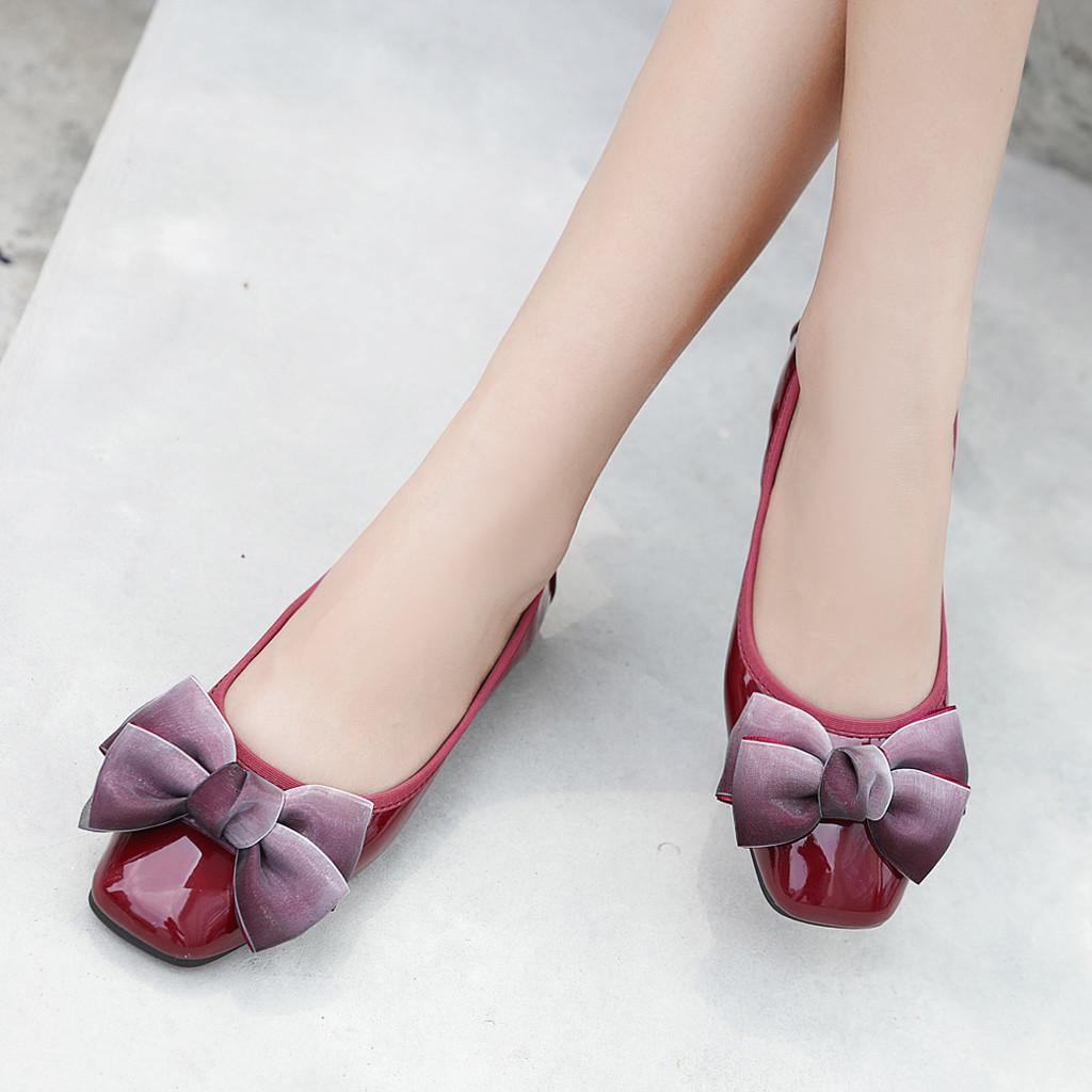 2019 New Women s Bow Flat Shoes Square Shallow Mouth Single Shoes ... 8a20cebc9bb5