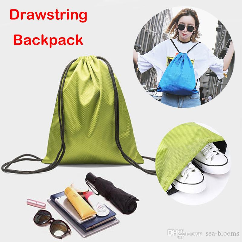 b6b6b70abf 2019 Newest Sports Waterproof Oxford Cloth Drawstring Backpack Folding Tote  Bags Polyester Shopping Storage Bag Support FBA Drop Shipping M36F From Sea  ...