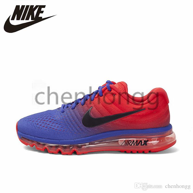 best website 91b9a 44c74 2019 Original Nike Air Max 2017 Mens Woman Running Shoes Airs New Arrival  Navy Blue Red Black White Flyknit Official Maxs Men Outdoor Sports Sneakers  ...