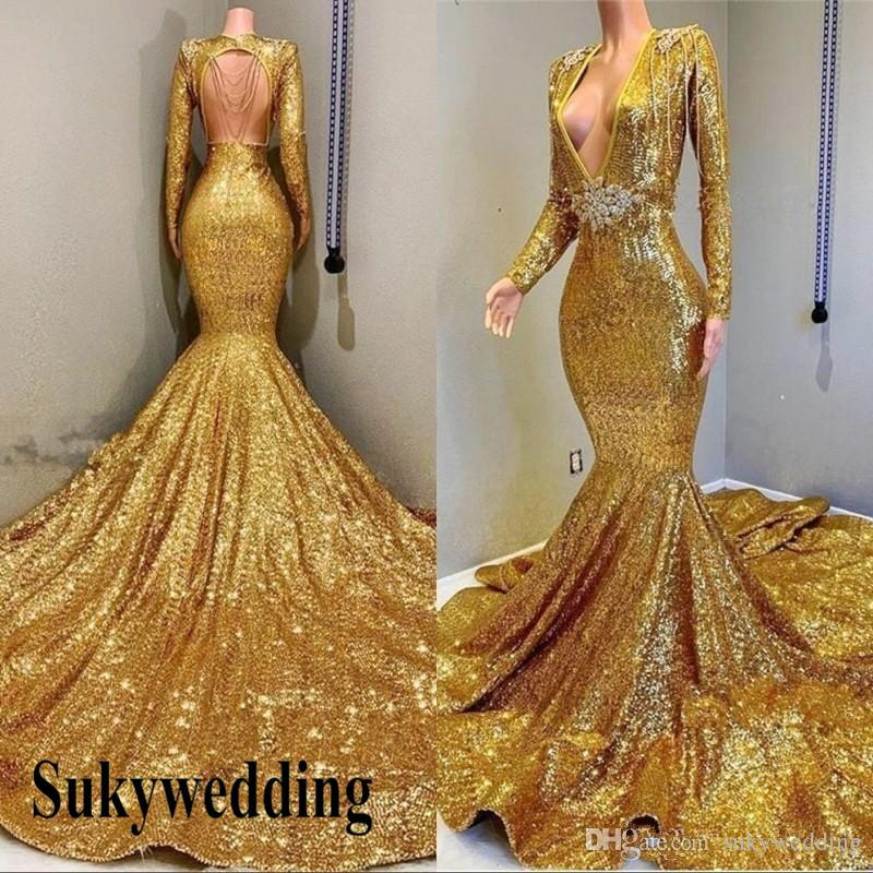 def7782fb2 Sparky Gold Sequined Mermaid Prom Dresses Cheap Backless Deep V Neck Long  Sleeves Sheath Evening Dress With Sash Beads Pageant Party Gowns  Whatchamacallit ...