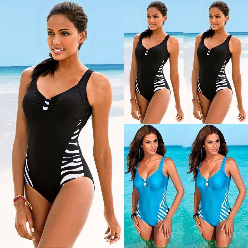 Nuovo Sexy scollo a V delle signore delle donne Plus Size One Piece Swimwear spinge verso l'alto bikini imbottito Bathing Beach nuoto del Beachwear dello Swimwear
